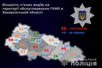 За 8 місяців найбільше нетверезих водіїв спіймали на Ужгородщині